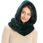 CS8407 Soft Faux Fur Hooded Infinity Scarf, Dark Green