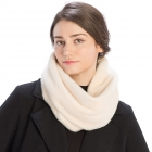 CS8407 Soft Faux Fur Hooded Infinity Scarf, Ivory