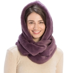 CS8407 Soft Faux Fur Hooded Infinity Scarf, Purple