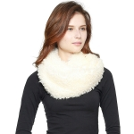 CS8408 Boucle Faux Fur Infinity Scarf, Ivory