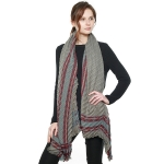 CS8410 Luxurious Aztec Border Pleated Scarf, Grey