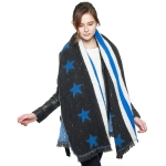 CS8411 Stars & Stripe Oversized Scarf, Navy