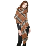 CS8412 Multi Lined Star Pattern Scarf, Brown