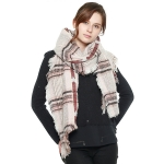 CS8412 Multi Lined Star Pattern Scarf, Pink