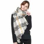 CS8412 Multi Lined Star Pattern Scarf, White