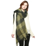 CS8413 Check Plaid Fringed Scarf, Olive