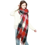 CS8413 Check Plaid Fringed Scarf, Red