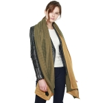 CS8414 Two Tone Double Sided Pleated Scarf, Olive