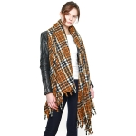 CS8416 Fringed Tartan Long Scarf, One Color