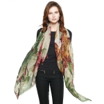 CS8419 Floral Pattern Scarf W/ Metallic Accent, Taupe