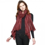 CS8422 Wool Blend Stitch Lined Long Scarf, Wine