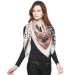 CS8425 Mixed Nature Print Square Scarf, Beige