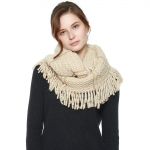 CS8426 Two Tone Knitted Infinity Scarf, Beige