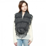 CS8426 Two Tone Knitted Infinity Scarf, Black