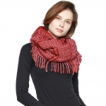 CS8426 Two Tone Knitted Infinity Scarf, Burgundy