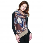 CS8428 Feather & Floral Border Scarf, Taupe