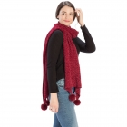 CS8439 Pleated Chenille Pom Pom Scarf, Wine