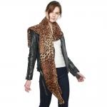 CS8431 Leopard Light Weight Scarf, Dark Brown