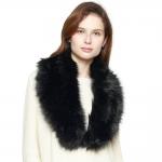 CS8434 Faux Fur Collar Scarf W/ Clips, Black
