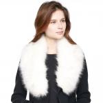 CS8434 Faux Fur Collar Scarf W/ Clips, Ivory