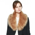 CS8434 Faux Fur Collar Scarf W/ Clips, Taupe