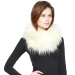 CS8435 Shaggy Faux Fur Oversized Neck Warmer, Ivory