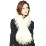 CS8436 Shaggy Faux Fur Oversized Shawl Scarf, Ivory