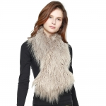 CS8436 Shaggy Faux Fur Oversized Shawl Scarf, Taupe