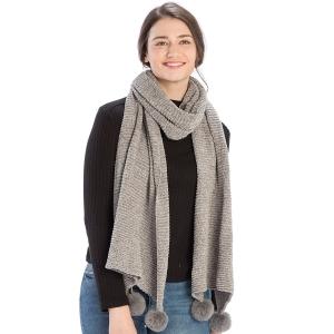 c3954d188ee81 SS2796 Plaid Check Blanket Square Scarf, Black · CS8439 Pleated Chenille  Pom Pom Scarf, Grey