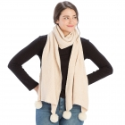CS8439 Pleated Chenille Pom Pom Scarf, Ivory