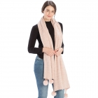 CS8439 Pleated Chenille Pom Pom Scarf, Pink