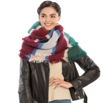 CS8443 Color Block Soft Scarf, Green