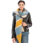 CS8443 Color Block Soft Scarf, Mustard