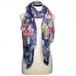CS8446 Floral Pattern Viscose Scarf, Blue