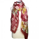 CS8446 Floral Pattern Viscose Scarf, Burgundy