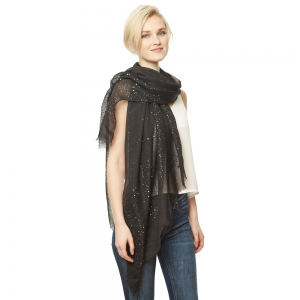 CS9111 Solid Scarf w/Sequin Accents, Black