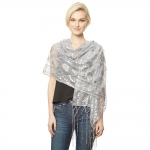 CS9112 Sequin Party Shawl Scarf, Silver