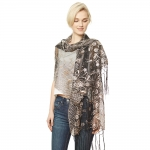 CS9113 Edge Flower Sequin Party Shawl Scarf, Black