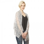 CS9113 Edge Flower Sequin Party Shawl Scarf, Silver