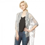 CS9114 Flower Sequin Party Shawl Scarf, Silver