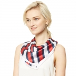 CS9116 Stripe Square Scarf, Red