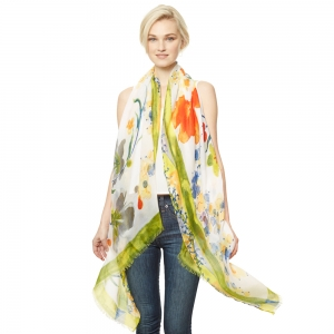 CS9120 Flower Print Viscose Scarf, Green