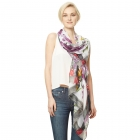 CS9120 Flower Print Viscose Scarf, Purple