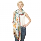 CS9120 Flower Print Viscose Scarf, Yellow