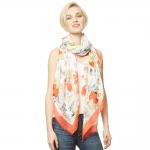 CS9122 Flower Print Viscose Scarf, Coral