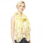 CS9126 Flower Stripe Print Scarf, Yellow