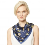 CS9133 Sea Horse Print Square Scarf, Navy