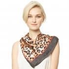 CS9137 Edge Block Leopard Print Square Scarf, Black