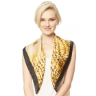 CS9138 Edge Block Animal Print Square Scarf, Black