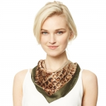 CS9138 Edge Block Animal Print Square Scarf, Olive